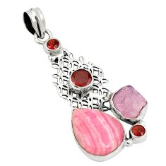 Natural pink rhodochrosite inca rose 925 silver two tone pendant d22379