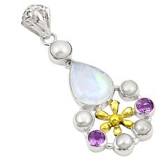 Natural rainbow moonstone amethyst 925 silver two tone pendant d22393