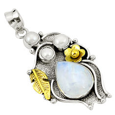 Clearance Sale- Natural rainbow moonstone pearl 925 silver two tone pendant d22394