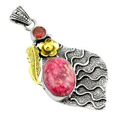 Clearance Sale- 925 silver natural pink thulite (unionite, pink zoisite) two tone pendant d22400