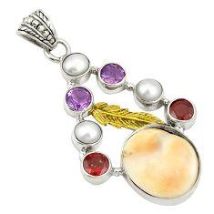 Natural white shiva eye amethyst pearl 925 silver two tone pendant d22404