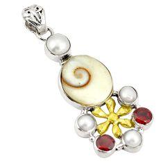 Natural white shiva eye garnet 925 silver two tone pendant jewelry d22406