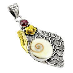 Clearance Sale- Natural white shiva eye garnet 925 silver two tone pendant jewelry d22408