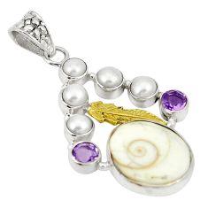 Natural white shiva eye amethyst 925 silver two tone pendant d22415
