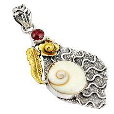 Natural white shiva eye garnet 925 silver two tone pendant jewelry d22417