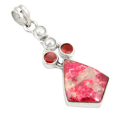 Clearance Sale- 925 silver natural pink thulite (unionite, pink zoisite) pearl pendant d22434