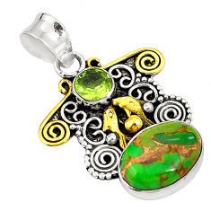 Clearance Sale- Green copper turquoise peridot 925 silver two tone pendant jewelry d22446