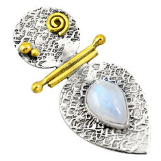 Natural rainbow moonstone 925 sterling silver two tone pendant d22453