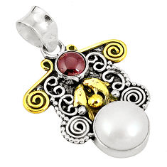 Clearance Sale- 925 sterling silver natural white pearl red garnet two tone pendant d22455