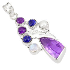 Clearance Sale- Natural purple amethyst moonstone 925 sterling silver pendant d22464