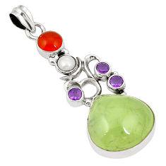 Clearance Sale- Natural green prehnite cornelian (carnelian) 925 silver pendant d22478