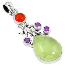 Clearance Sale- Natural green prehnite cornelian (carnelian) 925 silver pendant d22480