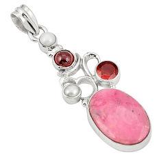 Natural pink rhodonite in black manganese 925 silver pendant d22490