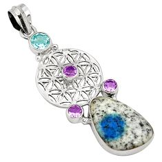 Natural k2 blue (azurite in quartz) amethyst 925 silver pendant d22506