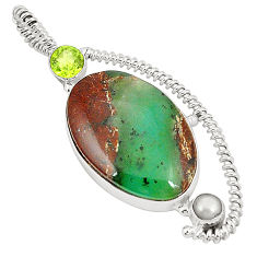 Clearance Sale- Natural green boulder chrysoprase peridot 925 silver pendant d22557