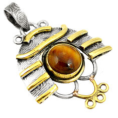 Natural brown tiger's eye 925 sterling silver two tone pendant d22559