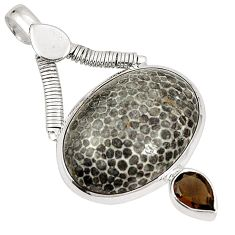 925 sterling silver natural black stingray coral from alaska pendant d22576
