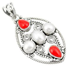 Natural white pearl red coral 925 sterling silver pendant jewelry d22586