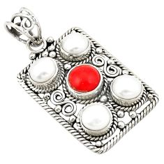 Natural white pearl coral 925 sterling silver pendant jewelry d22593