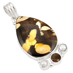 Clearance Sale- Natural brown peanut petrified wood fossil 925 silver pendant d22629
