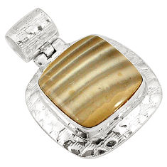 Natural brown striped flint ohio 925 sterling silver pendant d22636