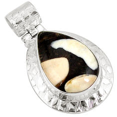 925 silver natural brown peanut petrified wood fossil pear pendant d22639
