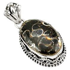 Clearance Sale- Natural brown turritella fossil snail agate 925 silver pendant d22647
