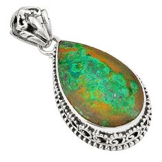 Natural green chrysocolla 925 sterling silver pendant jewelry d22648