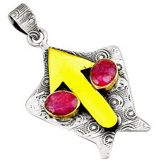 Natural red ruby 925 sterling silver two tone pendant jewelry d22663
