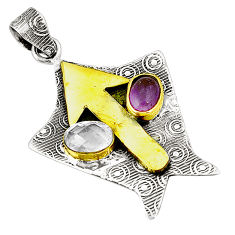 925 silver natural purple amethyst topaz two tone pendant jewelry d22671