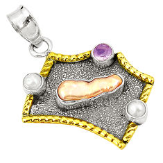 Natural orange biwa pearl rose quartz 925 silver two tone pendant d22673