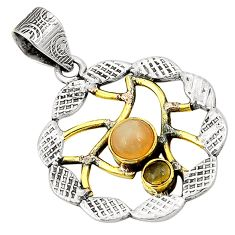 oonstone smoky topaz 925 silver two tone pendant d22677