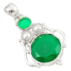 Clearance Sale- Natural green chalcedony pearl 925 sterling silver pendant jewelry d22684