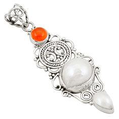 Natural white pearl cornelian (carnelian) 925 silver pendant jewelry d22689
