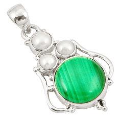 925 silver natural green malachite (pilot's stone) white pearl pendant d22691