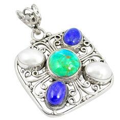 Clearance Sale- Green arizona mohave turquoise lapis lazuli 925 silver pendant d22875