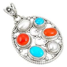 Natural orange cornelian (carnelian) pearl 925 silver pendant d22883