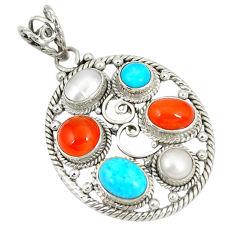 Natural orange cornelian (carnelian) pearl 925 sterling silver pendant d22888
