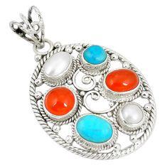 Natural orange cornelian (carnelian) pearl 925 sterling silver pendant d22892