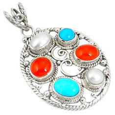 Natural orange cornelian (carnelian) pearl 925 silver pendant d22895