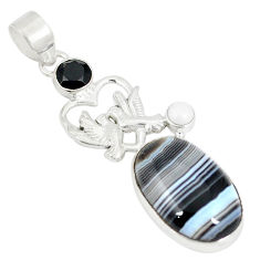Natural black botswana agate onyx 925 silver love birds pendant d22939