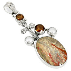 Clearance Sale- Natural brown mushroom rhyolite 925 silver holy cross pendant d22943