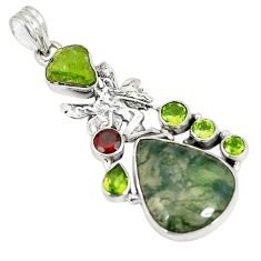 Natural green moss agate peridot 925 sterling silver pendant jewelry d22945