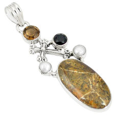 Natural brown fossil coral (agatized) petoskey stone 925 silver pendant d22946