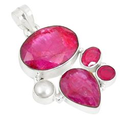 Natural red ruby white pearl 925 sterling silver pendant jewelry d22949