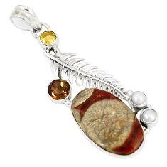 Natural brown mushroom rhyolite smoky topaz 925 silver pendant d22952