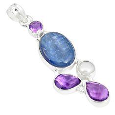 925 sterling silver natural blue kyanite amethyst pearl pendant d22953