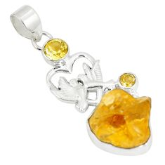 Yellow citrine rough 925 sterling silver love birds pendant jewelry d22975