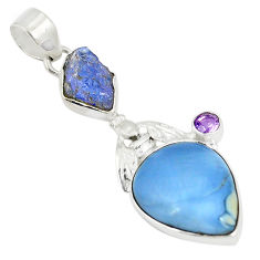 Clearance Sale- Natural blue owyhee opal 925 silver honey bee pendant jewelry d22977