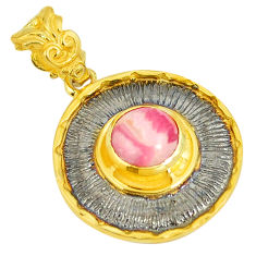 Natural pink rhodochrosite inca rose (argentina) 925 silver gold pendant d22983